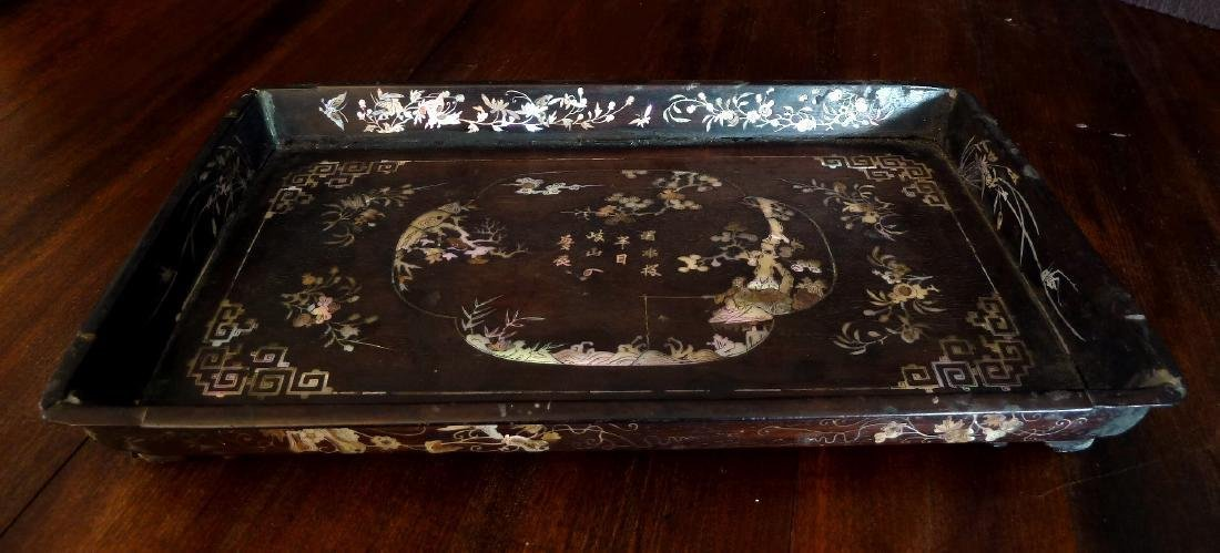 Antique Vietnamese Wooden Tray Mother of Pearl Inlaid
