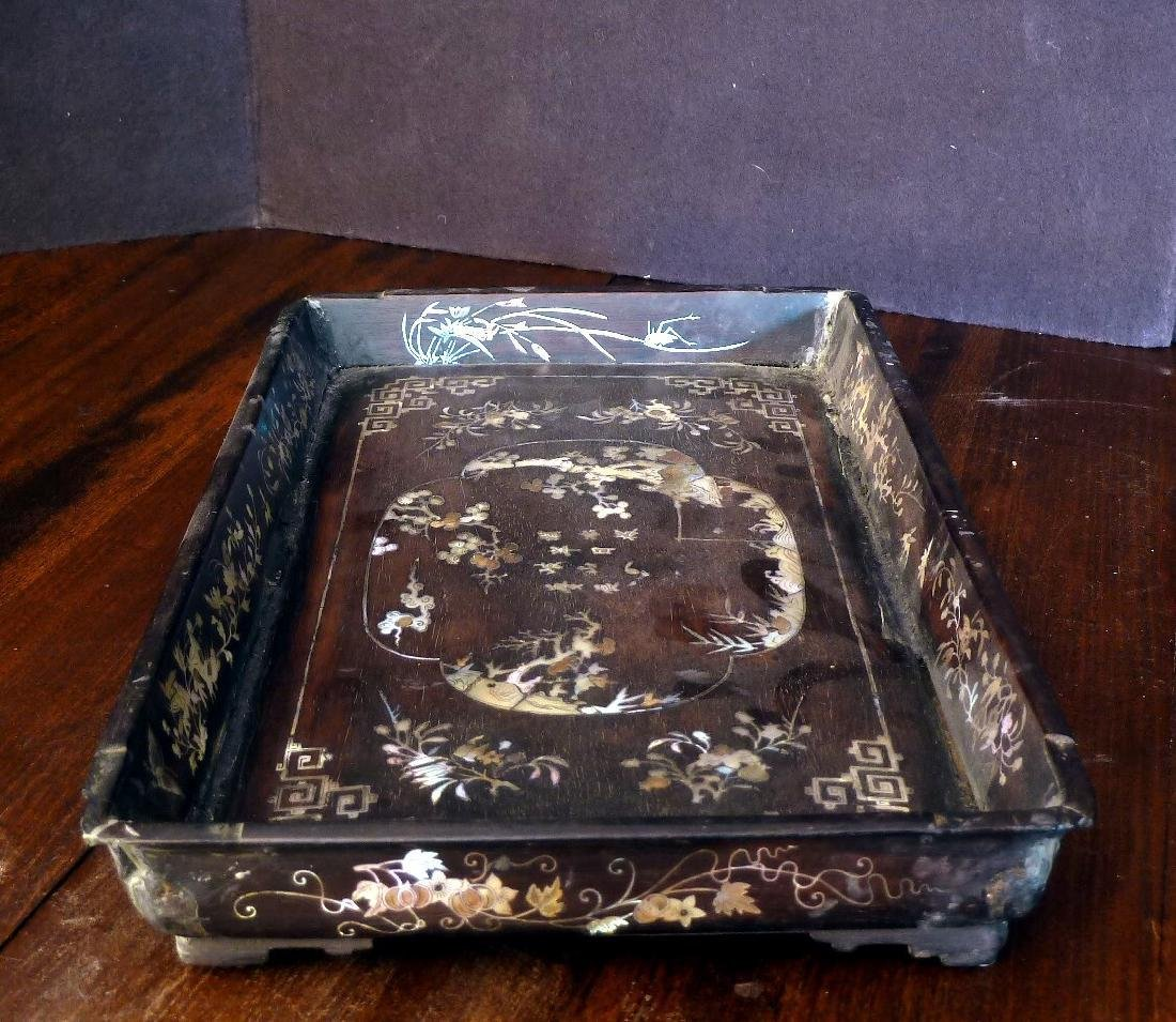Antique Vietnamese Wooden Tray Mother of Pearl Inlaid - 2