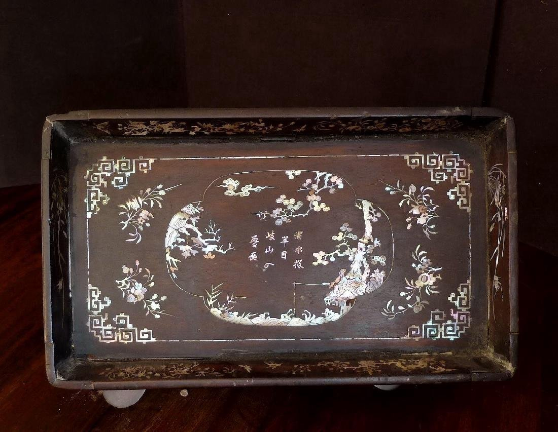 Antique Vietnamese Wooden Tray Mother of Pearl Inlaid - 3