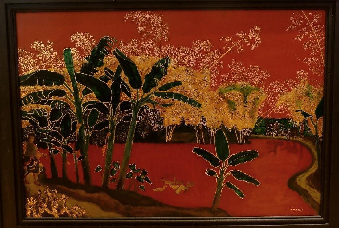 Vintage Vietnamese Mid Century Lacquer Painting