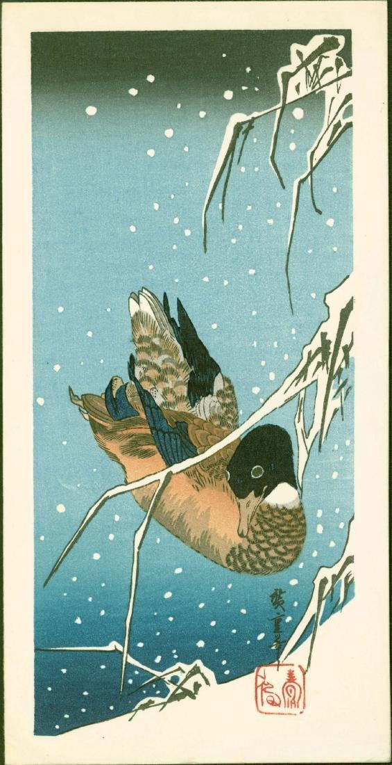 Ando Hiroshige Woodblock Duck Snow