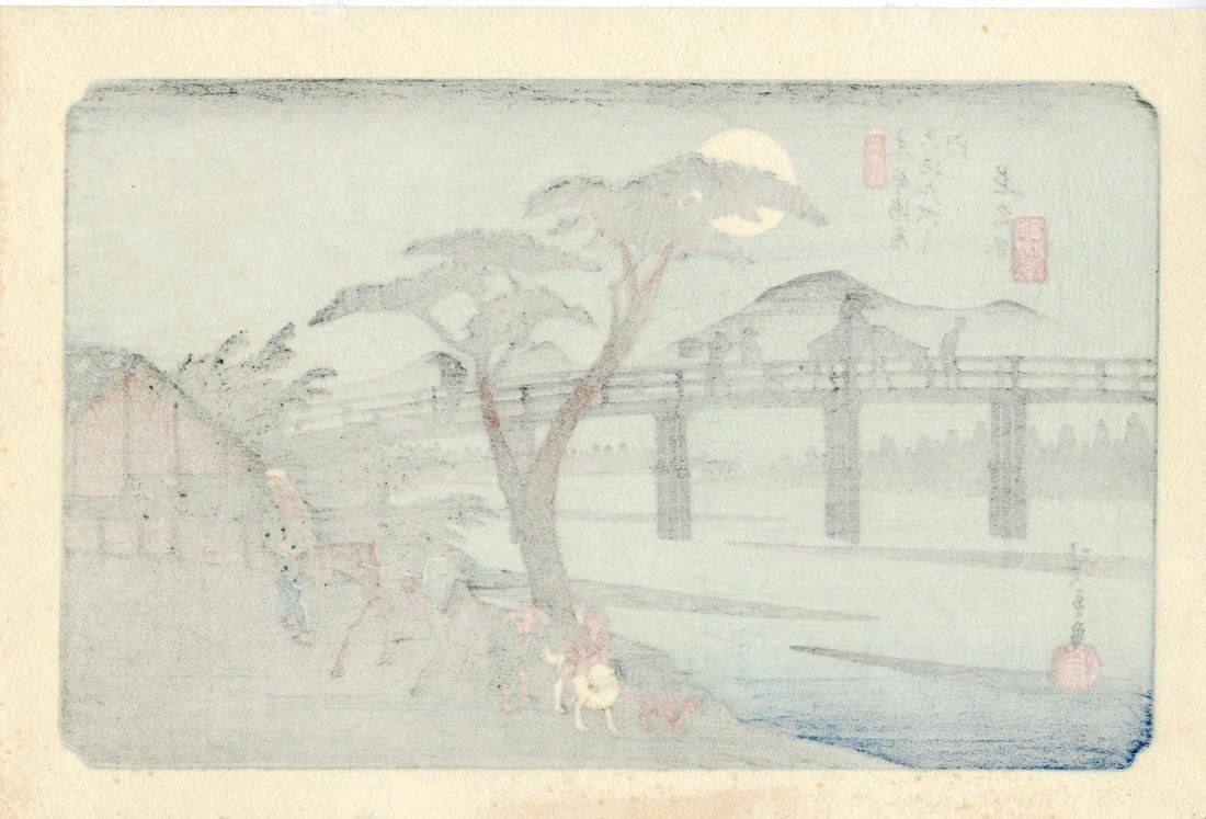 Ando Hiroshige Woodblock Stage-town Nagakubo Station - 2