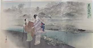 Ogata Gekko Woodblock Women Along a River