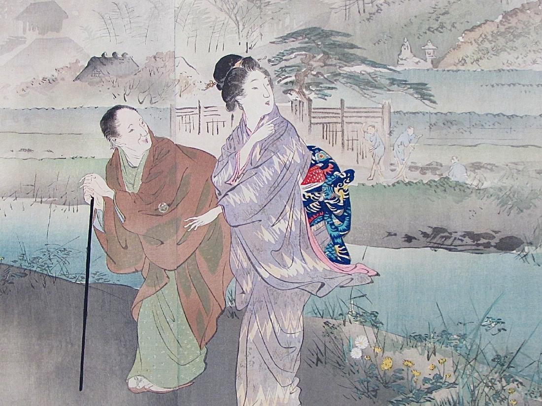Ogata Gekko Woodblock Women Along a River - 2