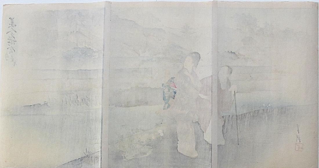 Ogata Gekko Woodblock Women Along a River - 3