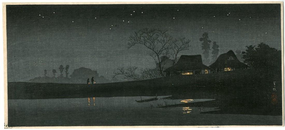 Takahashi Shotei Woodblock Starlit Night