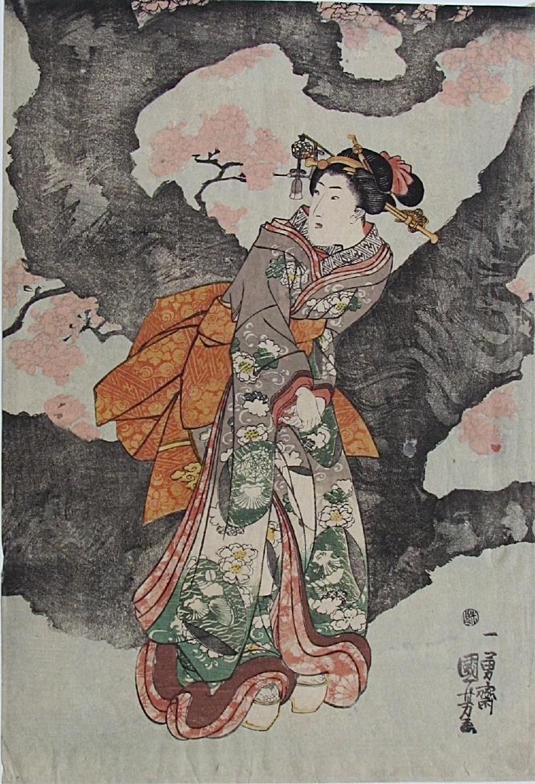 Utagawa Kuniyoshi Woodblock Young Woman Large Tree