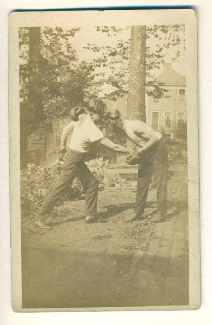 Vintage Rppc Outdoor Boxing Match Two Young Men Fight