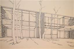 Mid Century Modern Architectural Drawing Artist Board