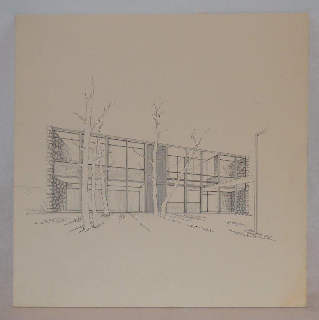 Mid Century Modern Architectural Drawing Artist Board - 2