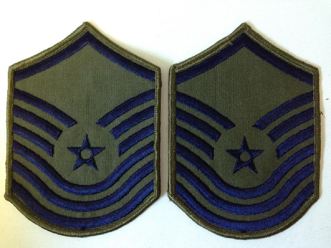 2 Patches Military GI Issue Air Force E-8 & MSgt E-7