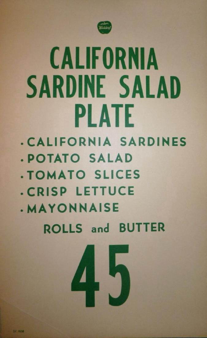 Waldorf Lunch Counter Daily Meal Specials,1950 - 1953 - 5