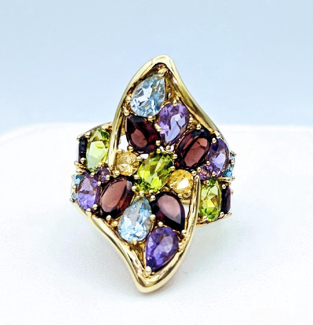 Gold Tone Sterling Silver Multicolor Gemstone Ring