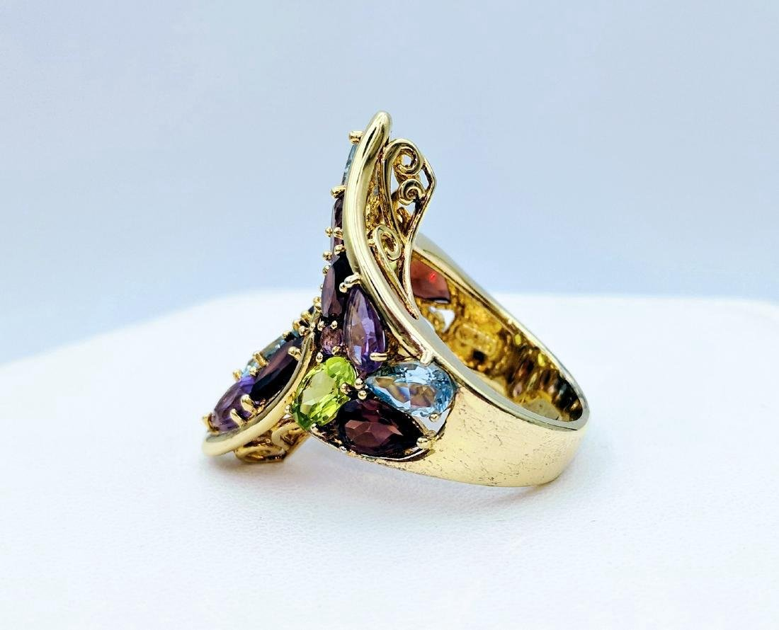 Gold Tone Sterling Silver Multicolor Gemstone Ring - 3
