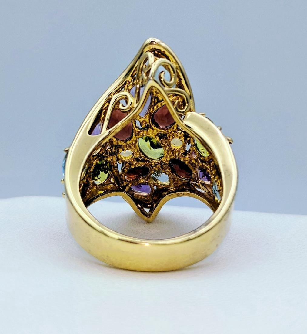 Gold Tone Sterling Silver Multicolor Gemstone Ring - 4