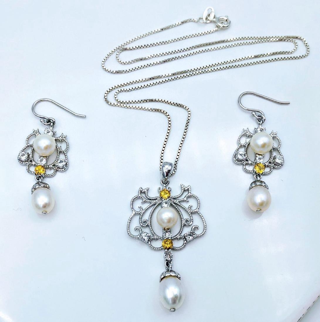 Vintage Sterling Silver Pearl Citrine CZ Necklace Set