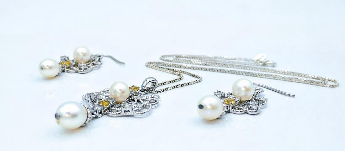 Vintage Sterling Silver Pearl Citrine CZ Necklace Set - 2