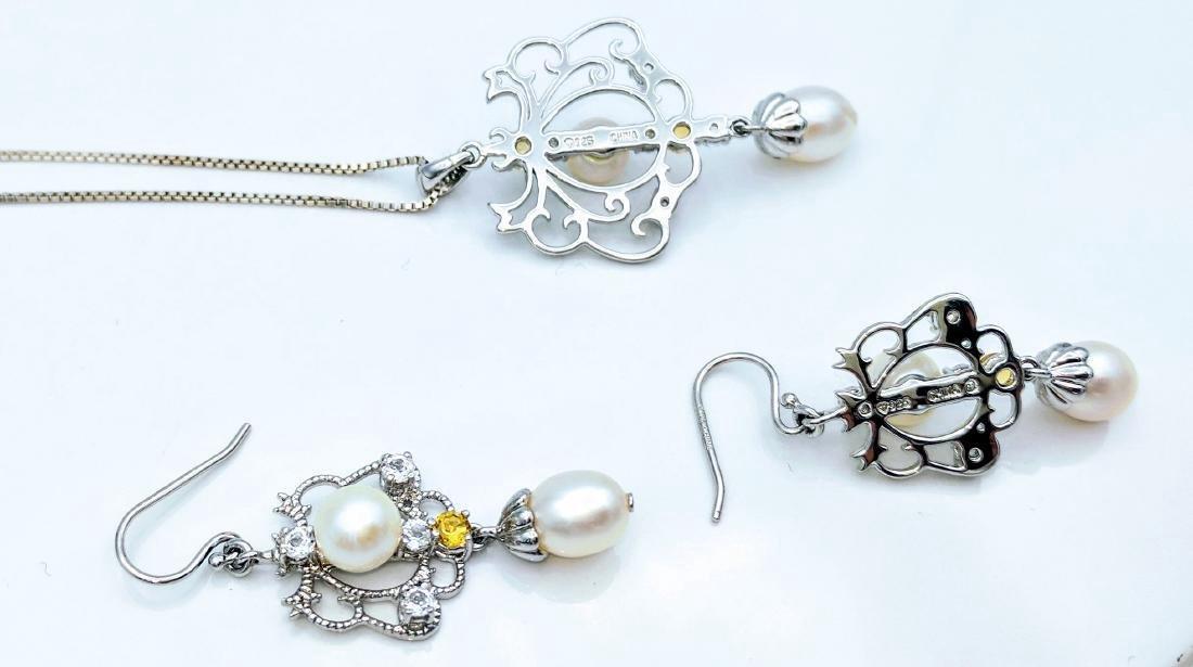 Vintage Sterling Silver Pearl Citrine CZ Necklace Set - 3