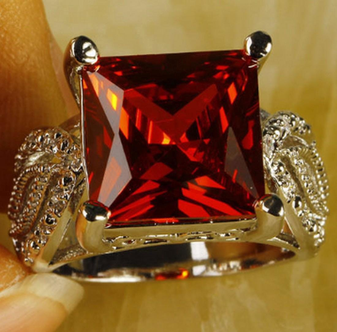 Silver Plated Square Cut Garnet Ring
