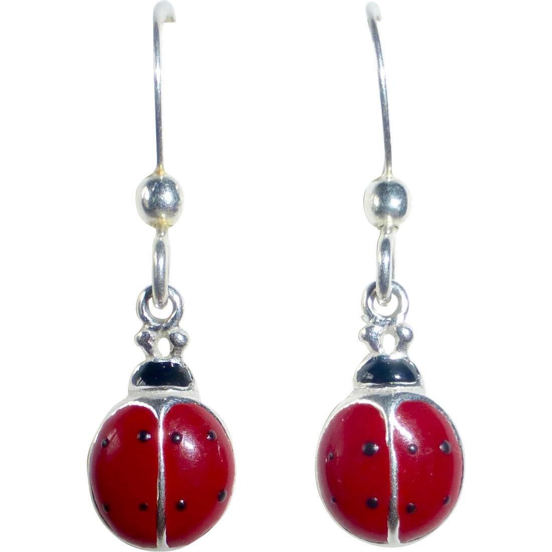 Vintage Sterling Silver Enamel Ladybug Earrings