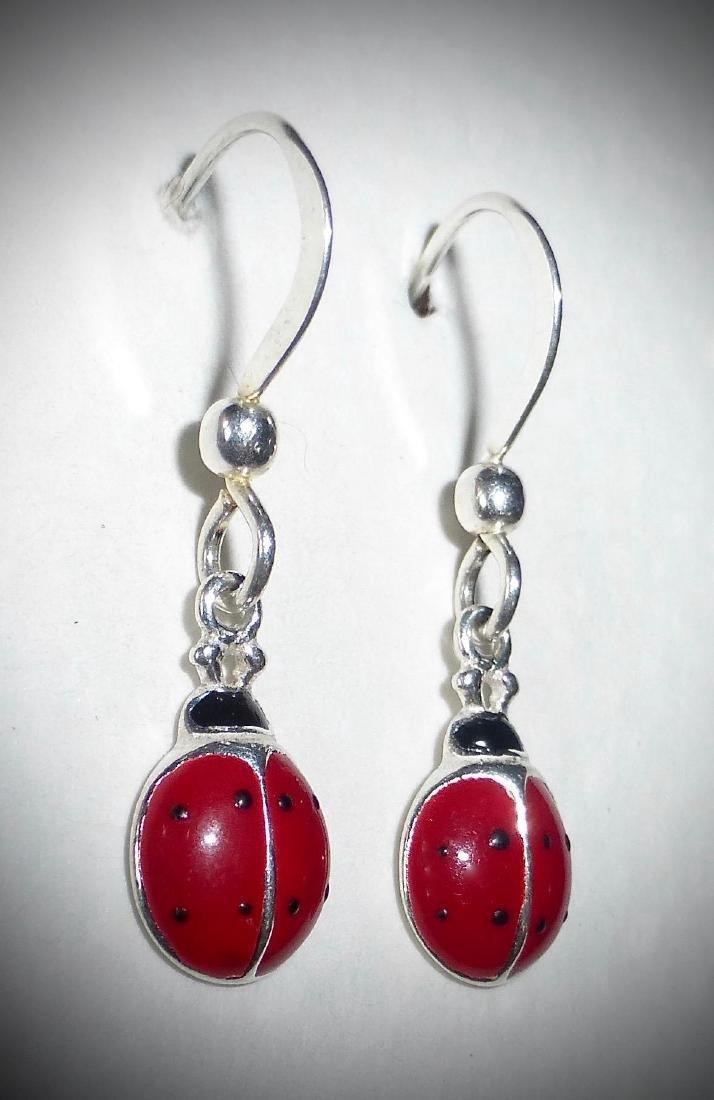Vintage Sterling Silver Enamel Ladybug Earrings - 2