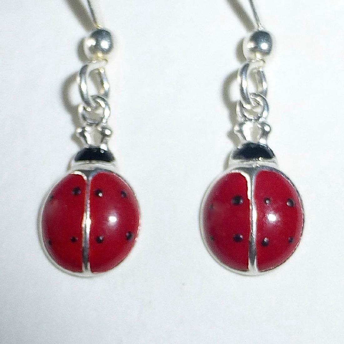 Vintage Sterling Silver Enamel Ladybug Earrings - 3