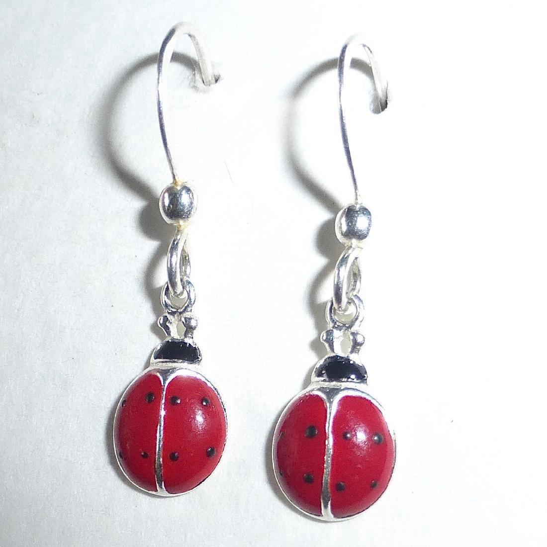 Vintage Sterling Silver Enamel Ladybug Earrings - 4