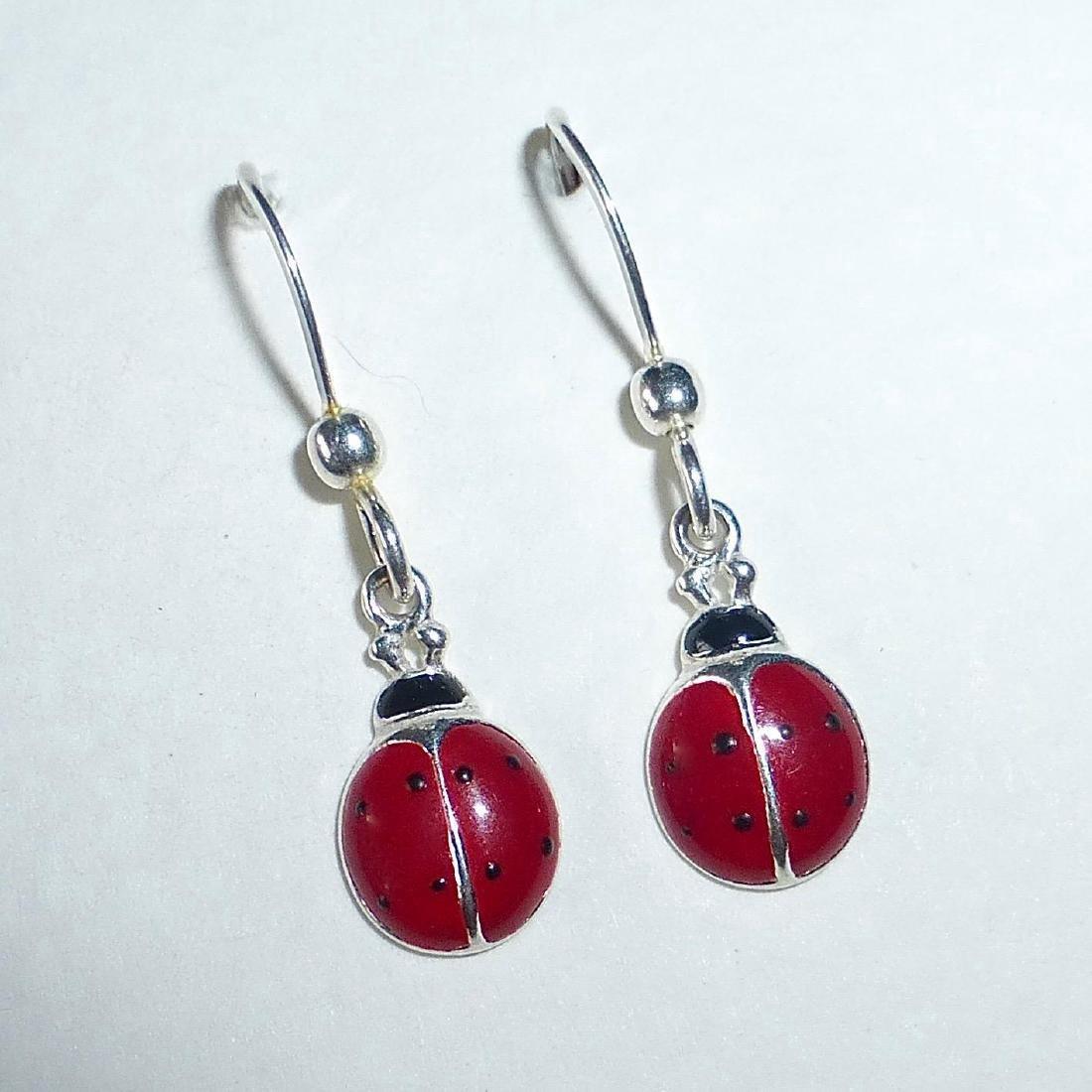 Vintage Sterling Silver Enamel Ladybug Earrings - 5