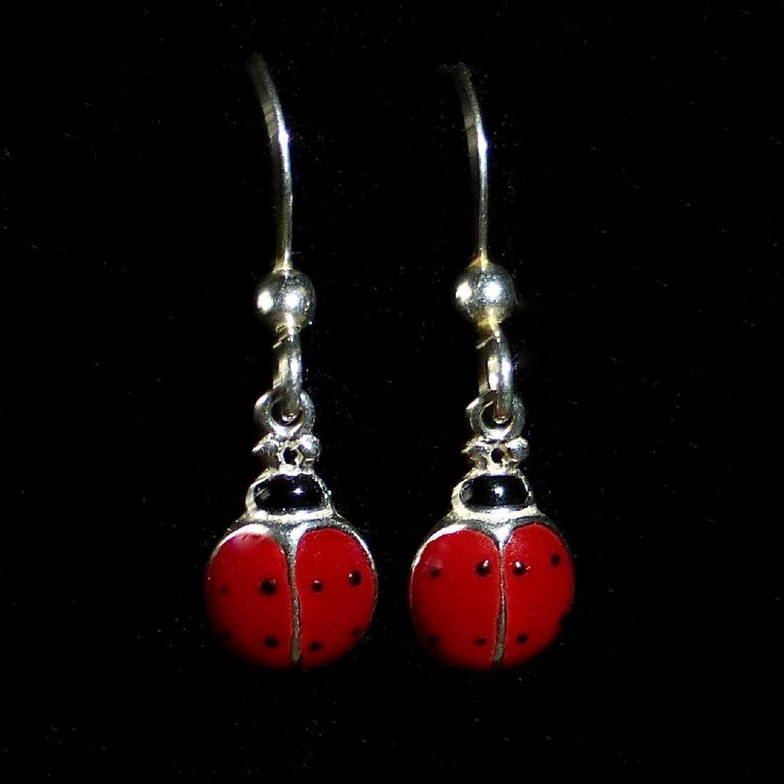Vintage Sterling Silver Enamel Ladybug Earrings - 8