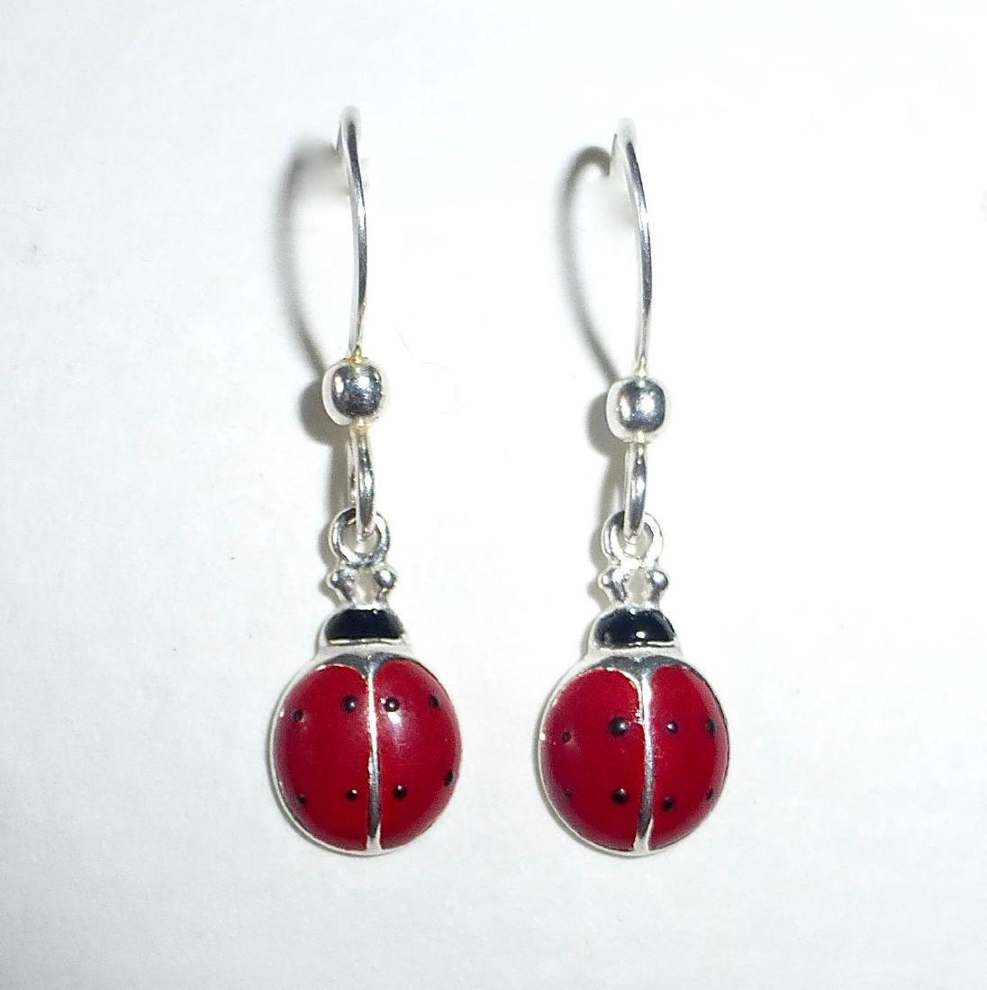 Vintage Sterling Silver Enamel Ladybug Earrings - 9
