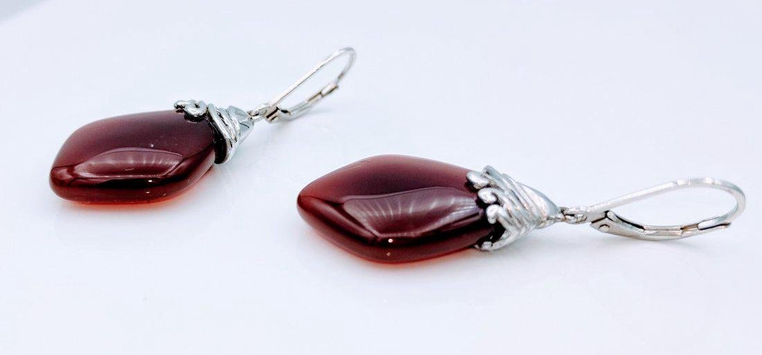 Sterling Silver Carnelian Earrings - 3