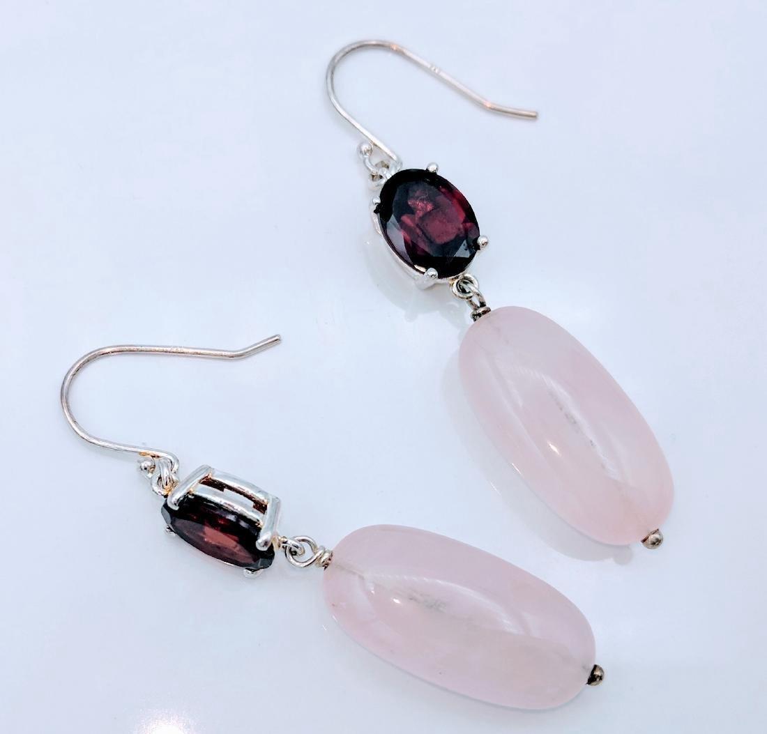 Sterling Silver Rose Quartz Red Garnet Earrings, 4ctw - 4