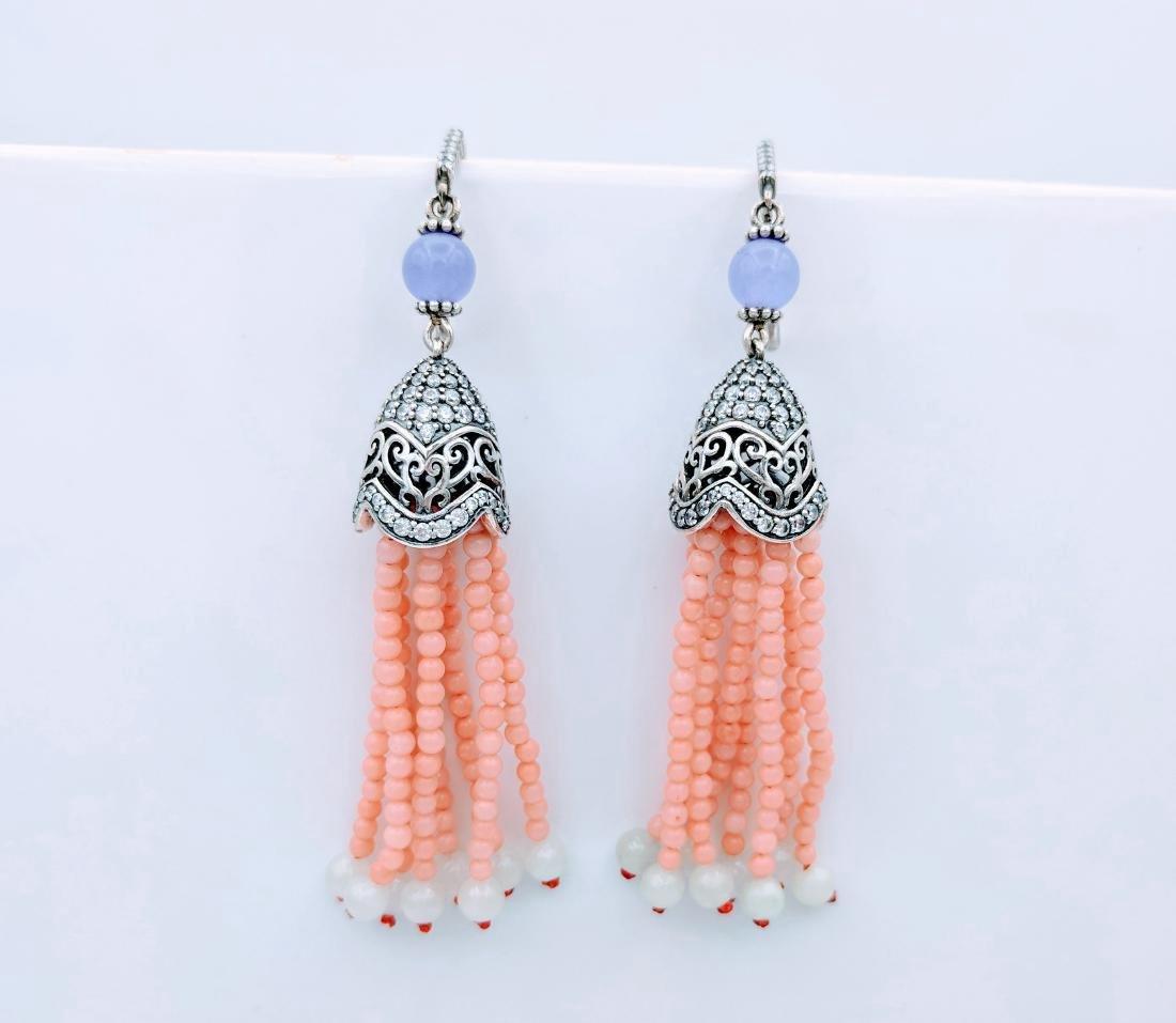 Sterling Silver Chalcedony Rose Quartz Jadeite Earrings - 2