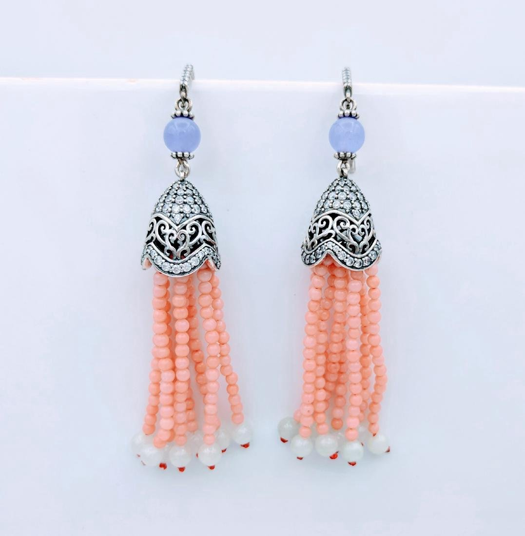 Sterling Silver Chalcedony Rose Quartz Jadeite Earrings - 3
