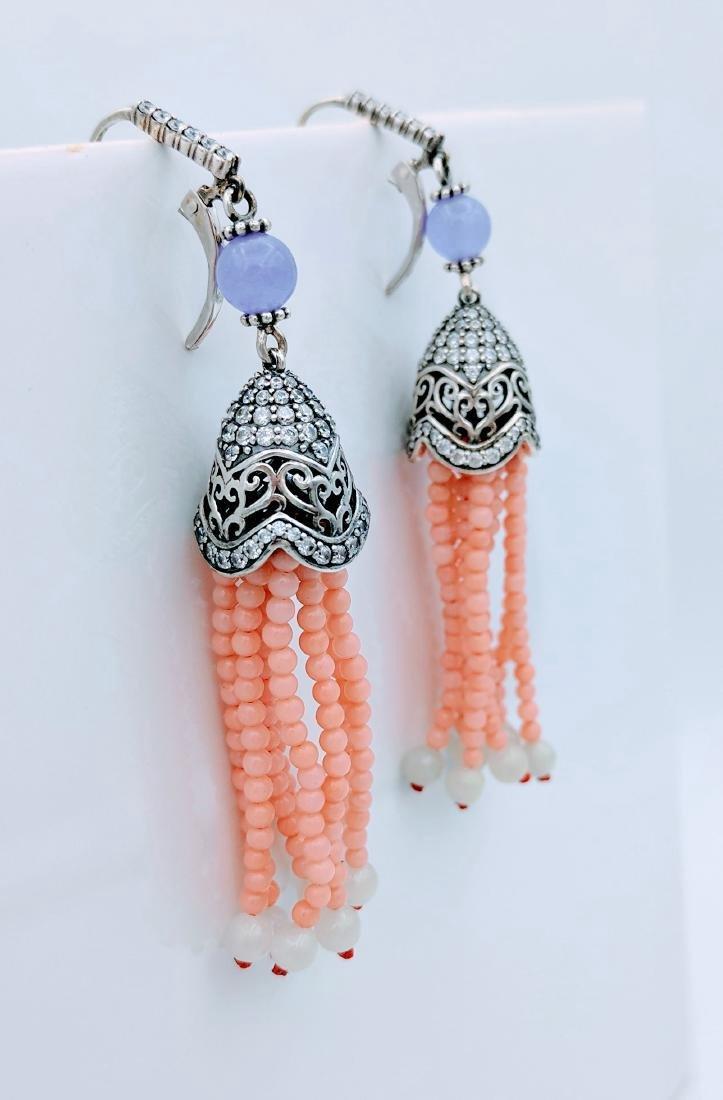 Sterling Silver Chalcedony Rose Quartz Jadeite Earrings - 4