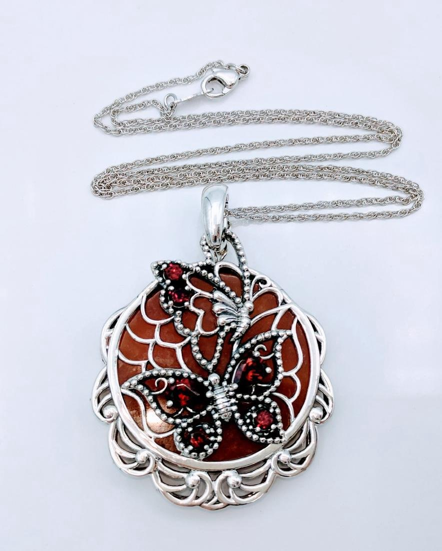 Sterling Silver Agate Garnet Pendant Necklace