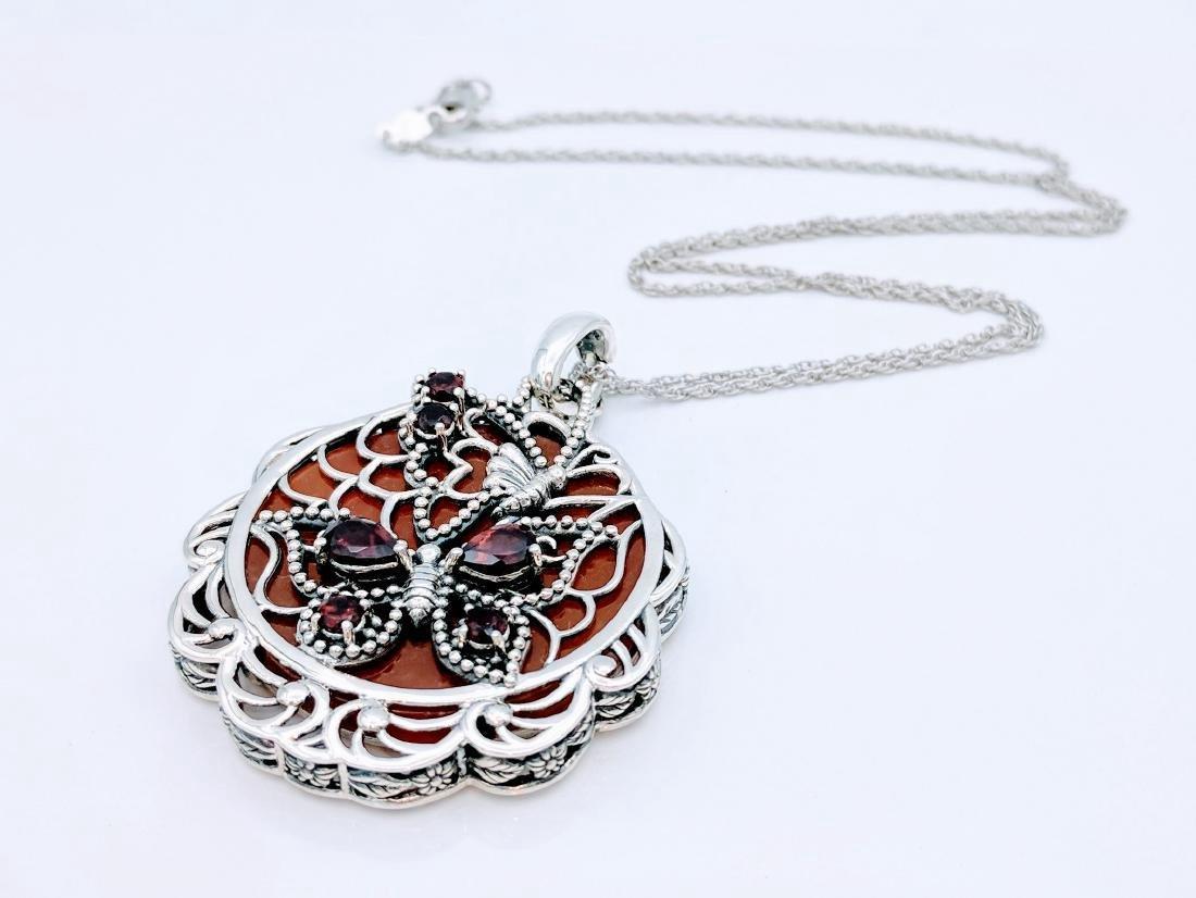 Sterling Silver Agate Garnet Pendant Necklace - 2