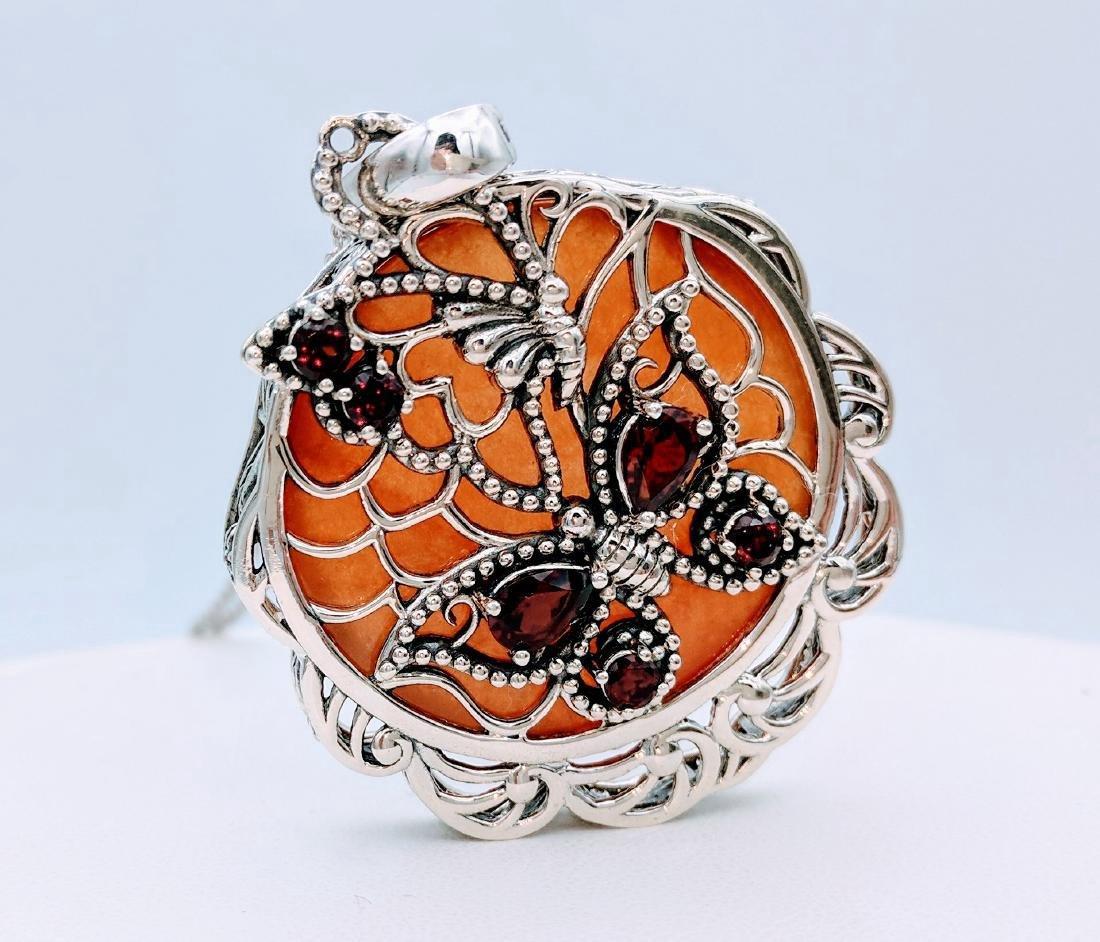 Sterling Silver Agate Garnet Pendant Necklace - 3