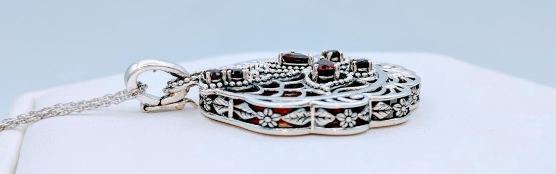 Sterling Silver Agate Garnet Pendant Necklace - 4