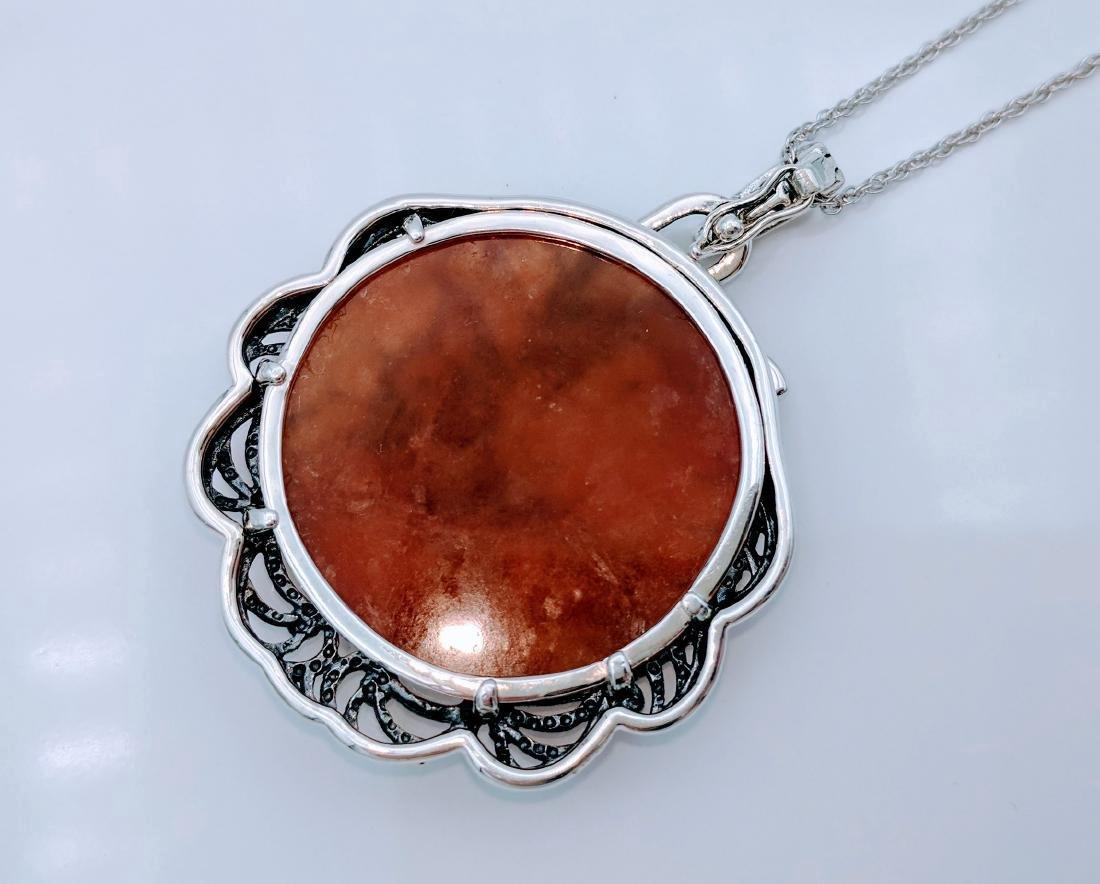 Sterling Silver Agate Garnet Pendant Necklace - 5