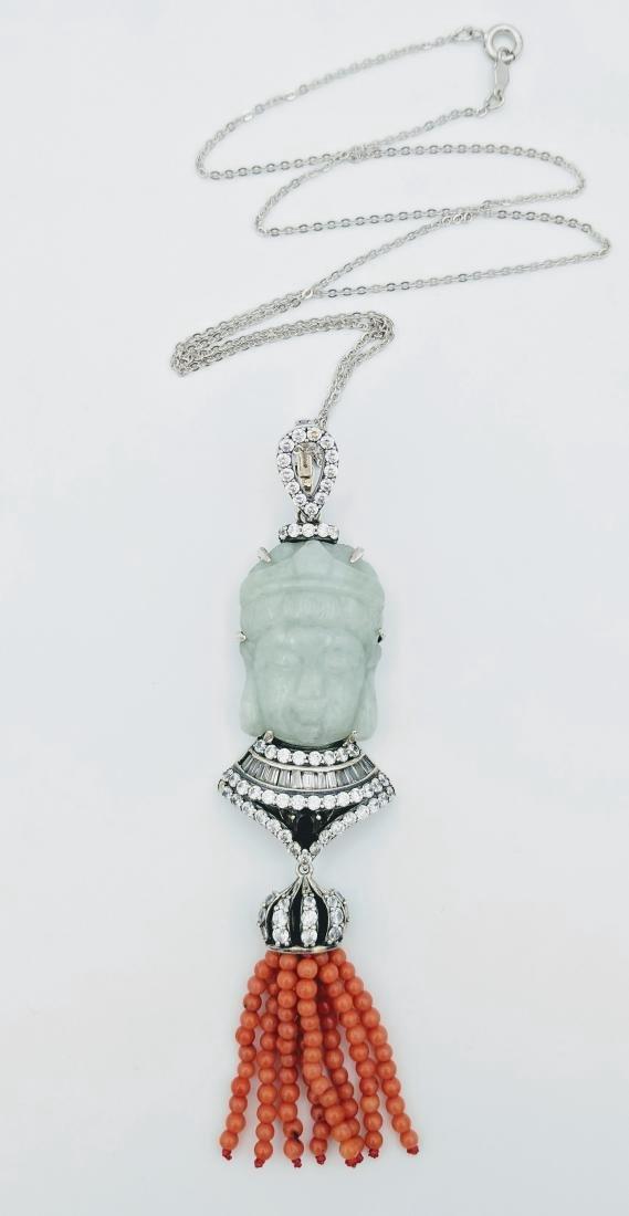 Sterling Silver Jade Garnet Jasper CZ Necklace