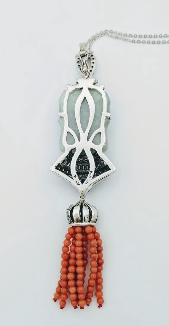 Sterling Silver Jade Garnet Jasper CZ Necklace - 4
