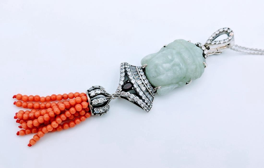 Sterling Silver Jade Garnet Jasper CZ Necklace - 5
