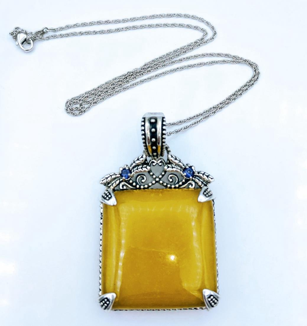 Sterling Silver Yellow Jade Amethyst Necklace, .22ctw