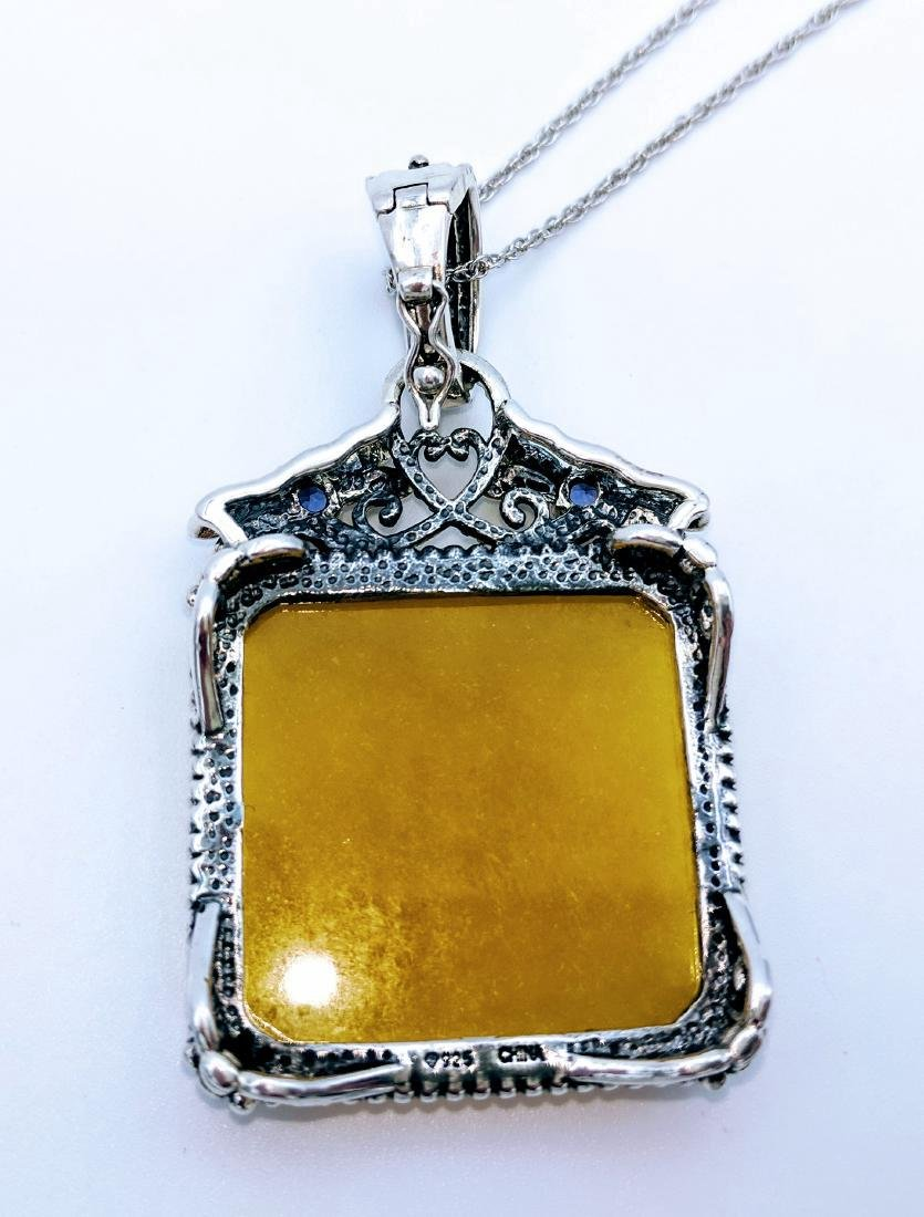 Sterling Silver Yellow Jade Amethyst Necklace, .22ctw - 5