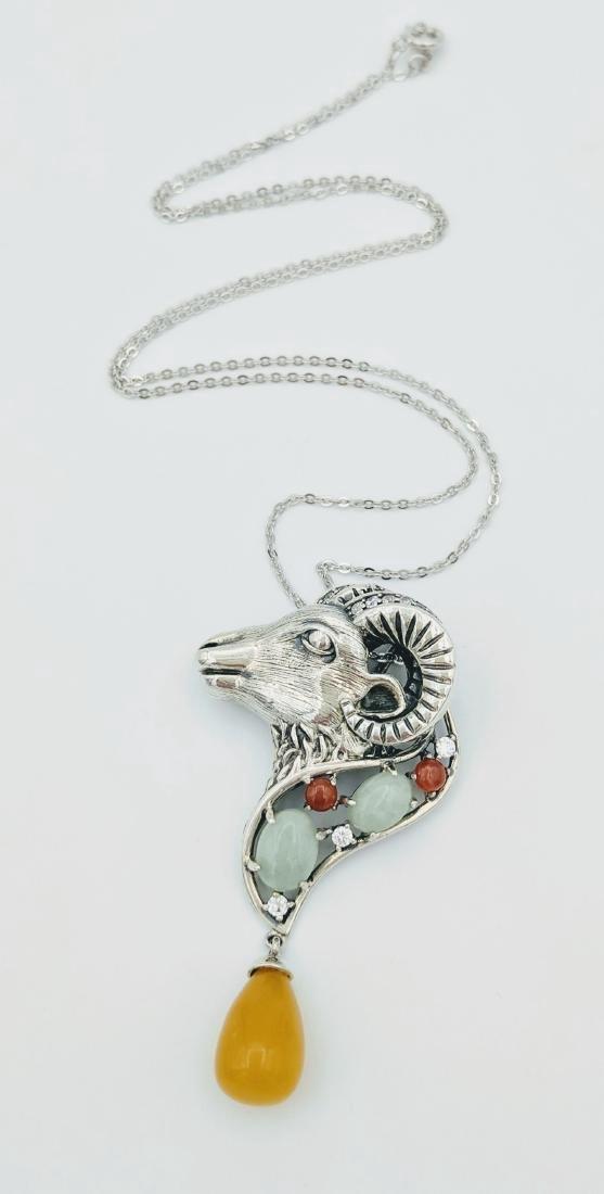 Sterling Silver Jade Jasper CZ Necklace & Pendant