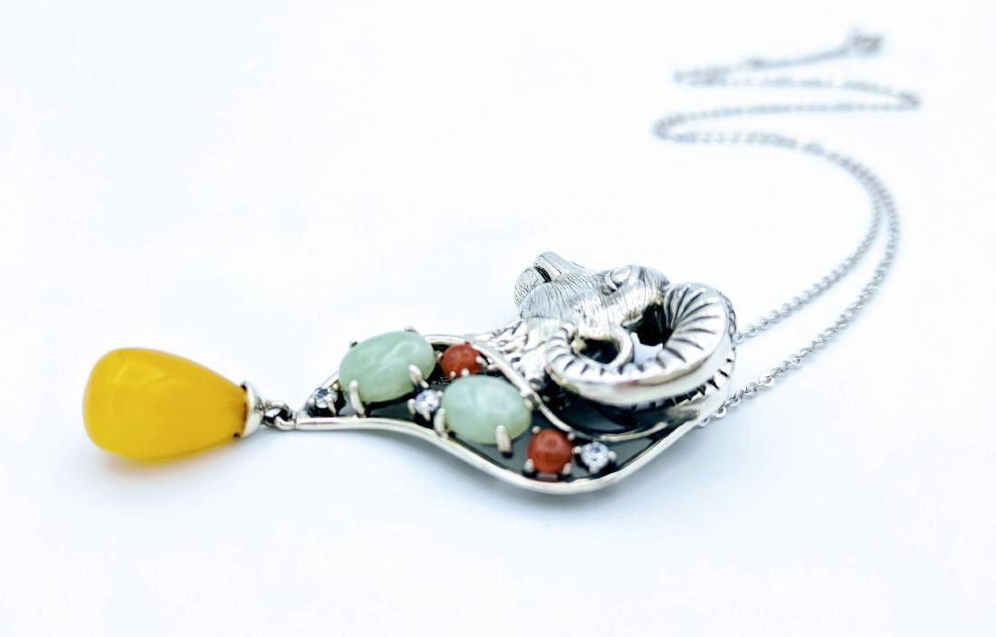 Sterling Silver Jade Jasper CZ Necklace & Pendant - 4