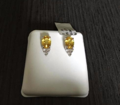 14K White Gold Yellow Sapphire Diamond Earrings, 2ctw