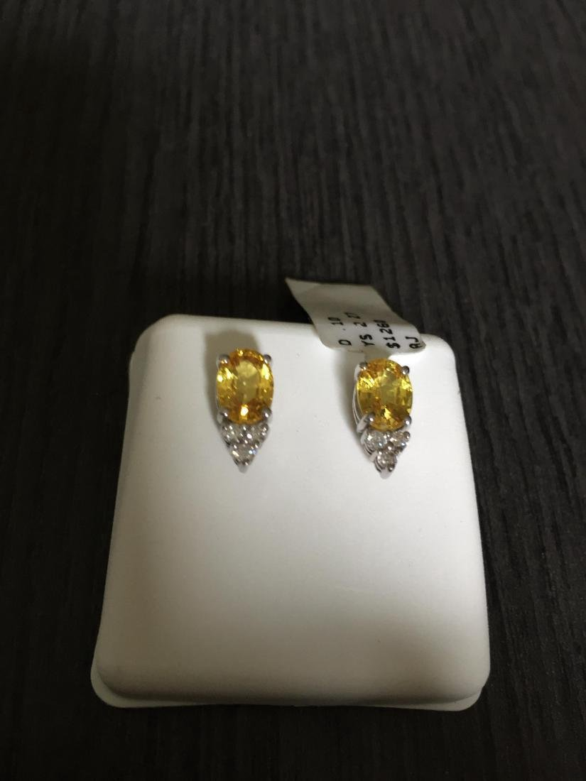 14K White Gold Yellow Sapphire Diamond Earrings, 2ctw - 3