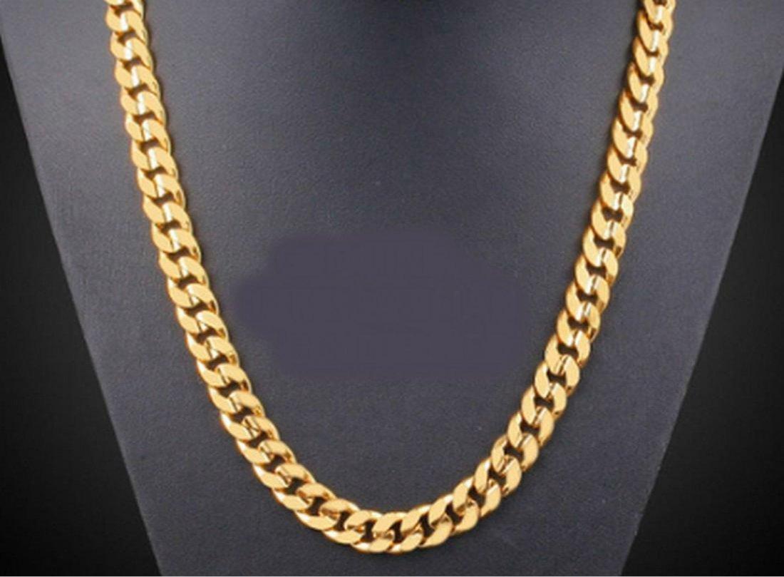 14K Brazilian Gold Filled Flat Cuban Chain Necklace
